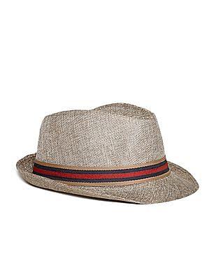 Day 2 Day Beige Boys Striped Tape Fedora Hat