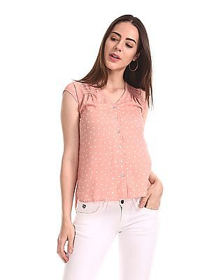 Elle Studio Cap Sleeve Printed Top