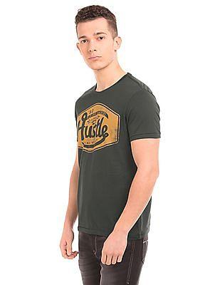Flying Machine Distressed Print Regular Fit T-Shirt