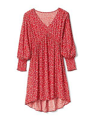 GAP Print V-Neck Swing Dress