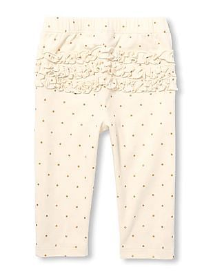 The Children's Place Baby Girl Pink  Foil Dot Print Ruffle Leggings