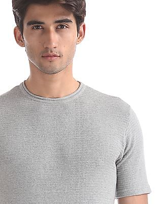 Cherokee Grey Round Neck Patterned Knit T-Shirt