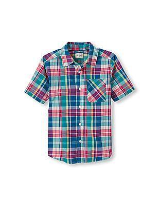 The Children's Place Boys Short Sleeve Plaid Button Down Shirt