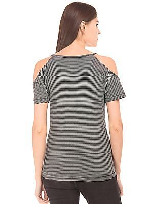 Flying Machine Women Striped Cold Shoulder Top