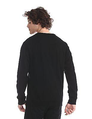 Flying Machine Black Crew Neck Brand Print Sweatshirt