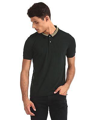 Arrow Newyork Green Solid Regular Fit Polo Shirt