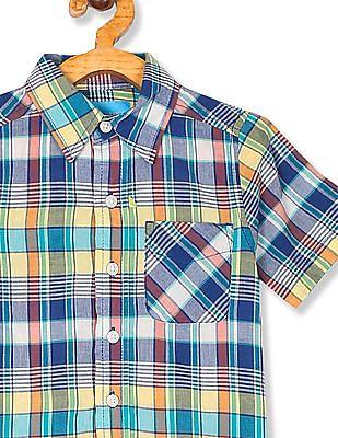 The Children's Place Boys Multi Colour Short Sleeve Plaid Button Down Shirt
