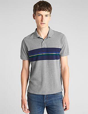 GAP Mix Stripe Pique Polo Shirt In Stretch