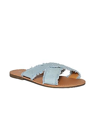 Aeropostale Frayed Denim Strap Sandals