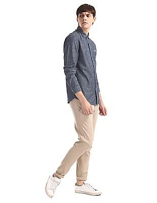 Cherokee Blue Rounded Cuff Slub Cotton Shirt