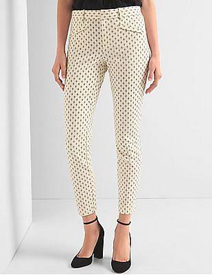 GAP Women White Bi-Stretch Skinny Ankle Pants