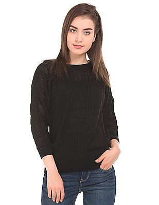 Cherokee Solid Patterned Sweater