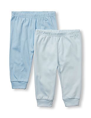 The Children's Place Baby Boys Blue Layette Solid Pants 2-Pack