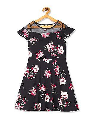 The Children's Place Black Girls Short Sleeve Mesh Yoke Floral Ponte Knit Dress
