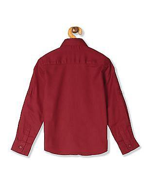 U.S. Polo Assn. Kids Red Boys Textured Button Down Shirt