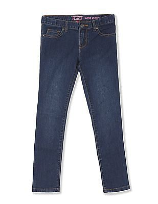 The Children's Place Blue Girls Super Skinny Fit Rinsed Jeans