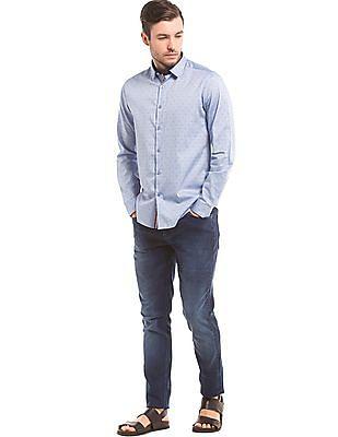 True Blue Slim Fit Dobby Print Shirt