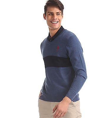 U.S. Polo Assn. Blue V-Neck Chest Stripe Sweater
