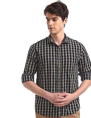 Ruggers Yellow Regular Fit Check Shirt