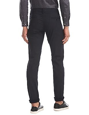 Flying Machine Blue Super Slim Fit Printed Trousers