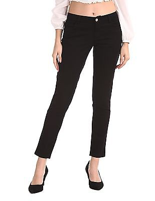 Cherokee Black Mid Rise Solid Trousers