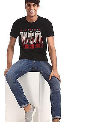 Aeropostale Black Crew Neck Brand Print T-Shirt