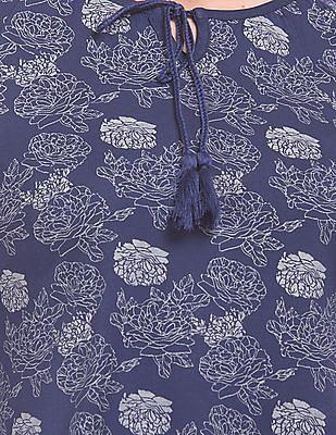 Cherokee Floral Printed Tie Neck Top
