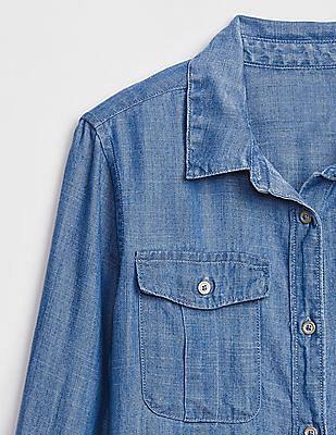 GAP Blue Girls Denim Long Sleeve Shirt