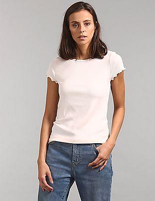GAP Short Ruffle Sleeve Ribbed T-Shirt