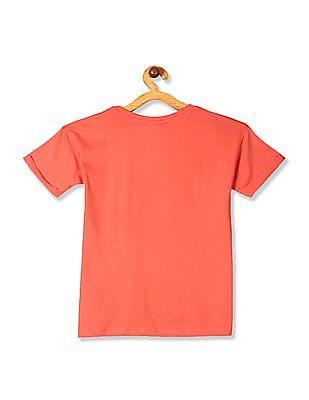 Cherokee Orange Girls Upturn Sleeve Printed T-Shirt