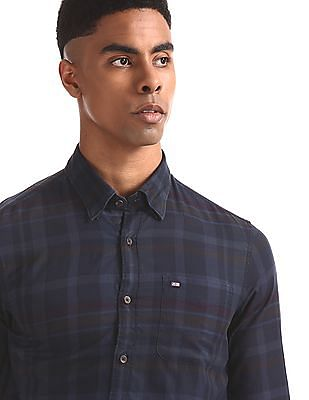 Arrow Sports Blue Concealed Collar Check Shirt