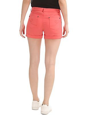 Elle Solid Cotton Stretch Shorts