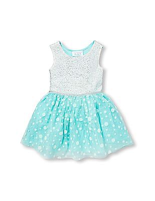 The Children's Place Toddler Girl Sleeveless Metallic And Textured Dot Tutu Dress