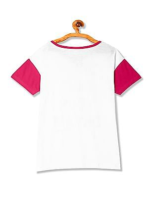 Flying Machine Women Short Sleeve Colour Block T-Shirt