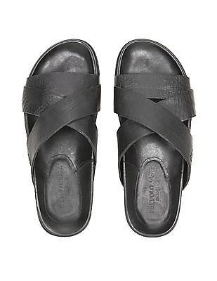 U.S. Polo Assn. Criss Cross Strap Leather Sandals