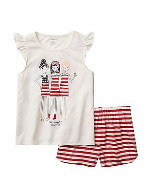 GAP Girls Americana Friends Short PJ Set