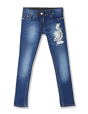 U.S. Polo Assn. Kids Girls Stone Wash Embroidered Jeans