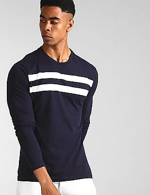 GAP Blue Long Sleeve Crew Neck Striped T-Shirt