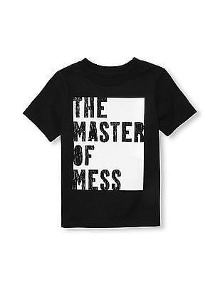 The Children's Place Toddler Boy Black Short Sleeve Glow-In-The-Dark 'The Master Of Mess' Graphic Tee