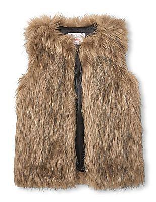 The Children's Place Girls Brown Fur Vest Jacket