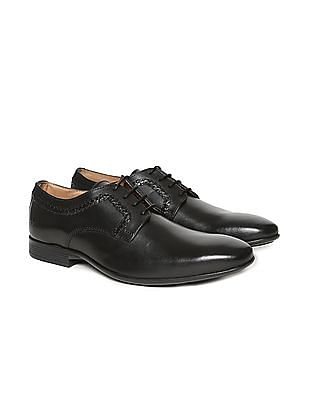 Arrow Braided Trim Leather Derby Shoes