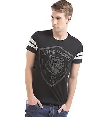 Flying Machine Mesh Trim Printed T-Shirt