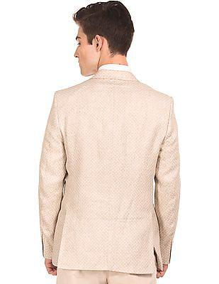 Arrow Patterned Linen Blazer