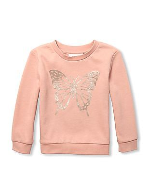 The Children's Place Toddler Girl Active Long Sleeves Foil Graphic Sweatshirt
