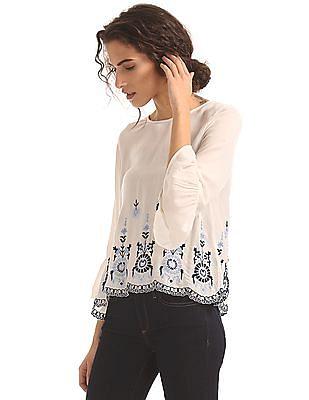 Aeropostale Embroidered Hem Bell Sleeve Top