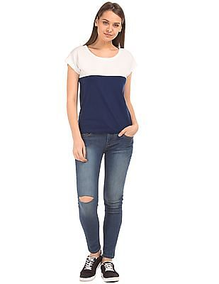 Flying Machine Women Round Neck Colour Block Top