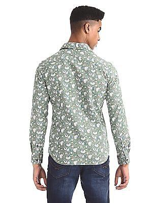 U.S. Polo Assn. Denim Co. Green Floral Print Cotton Shirt