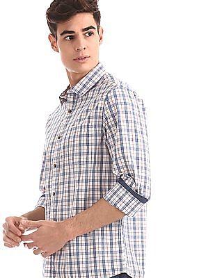 Ruggers White Semi Cutaway Collar Check Shirt