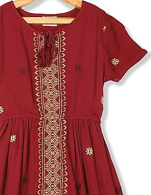 Cherokee Red Girls Embroidered Crinkled Dress