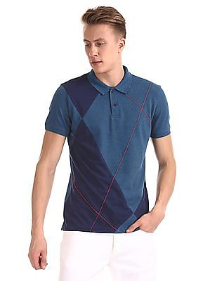 Roots by Ruggers Blue Short Sleeve Colour Block Polo Shirt